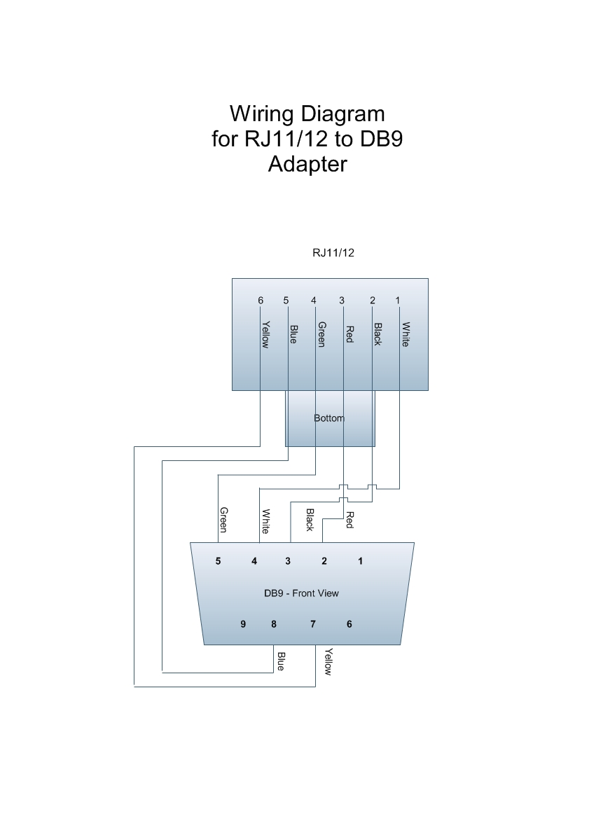 Wiring diagram for RJ11DB9 adapter